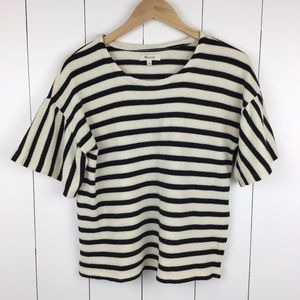 Madewell Small Bell Short Sleeve Top Striped Ivory